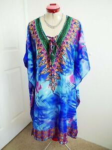 MILLERS Blue Green KAFTAN DRESS Size 18 Sheer Embellished Beaded Resort Vacay