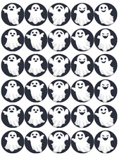 30x Halloween Ghost Cupcake Toppers Edible Wafer Paper Fairy Cake Toppers