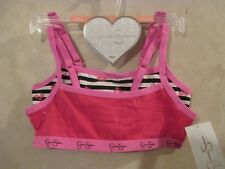 2 New JESSICA SIMPSON Pink White Red Size S 6-7 Pullover Crop Top Training Bras