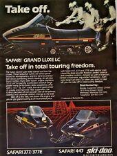 Ski-Doo Safari Grand Lux LC 377/377E 447 Bombardier 1985 Vintage Print Ad 80s