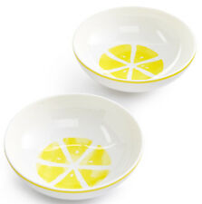 "kate spade With A Twist Set of 2 Accent Bowls 5"" Yellow/White Lemon Slice New"