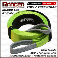 """Ranger 3"""" x 20' 30,000 lbs Reinforced Tow Strap Tree Saver for Winch Recovery"""