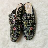 Vince Camuto Black Leather Floral Print Silver Stud Slip On Mule Women's Size 7.