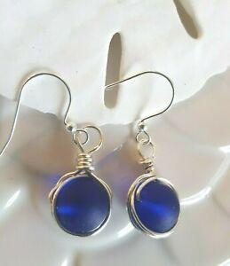 Sea glass jewelry COBALT BLUE Round beach glass custom-wrapped silver Earrings