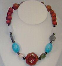 Precious stones necklace, Agate Coral Adventurine Chalcedony Jasper ~NEW~
