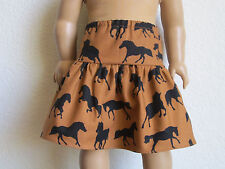 WESTERN COWGIRL HORSE SKIRT: features Running Black Horses fits American Girl