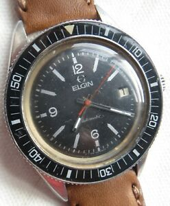 Elgin Diver automatic mens wristwatch steel case screw cap 39 mm. in diameter