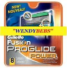 8PCS GILLETTE FUSION PROGLIDE POWER SHAVING RAZOR CARTRIDGES BLADES FREE S&H****