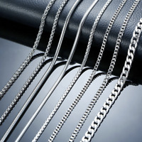 Hot Fashion Variety 316L Stainless Steel 2mm/3mm/4mm/5mm Silver Chain Necklace