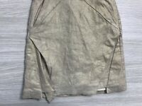 Kookai Skirt Size 36 Linen Blend Mini Gold Metalic Shimmer Stretchy with Pockets