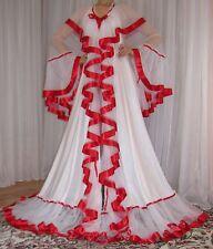 Vtg Nylon Chiffon Satin Full Sweep Lingerie Slip Negligee Robe Nightgown 1X-3X