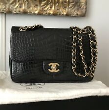 RARE VINTAGE RUNWAY CHANEL BLACK ALLIGATOR CLASSIC DOUBLE FLAP BAG PURSE FRANCE