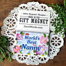 "WORLD'S BEST NANNY MAGNET Pretty floral fridge Gift NEW 2""x3"" DecoWords USA"