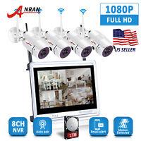 "8CH Wireless Security Camera System 1080P HD 12""Monitor Home Surveillance 1TB IR"