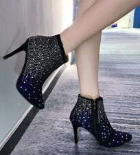 Womens Glitter Rhinestones Pointed Toe Ankle Riding Boots High Heels Stilettos