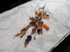 Orange to Rust Chunky Beaded Purse Dangle Suncatcher Handcrafted Key Chain