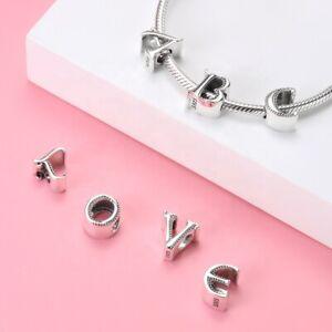 Charms Anhänger kompatibel Pandora Echt Silber 925 Beads Alphabet A-Z Buchstaben