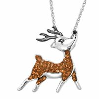 Crystaluxe Reindeer Pendant with Swarovski Crystals in Sterling Silver