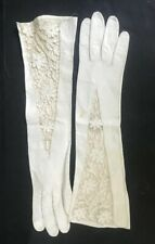 Vintage White kid leather long gloves with cut-out floral design Size 7
