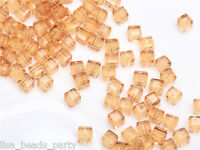 50pcs 4mm Cube Square Faceted Crystal Glass Charm Loose Beads Gold Champagne New