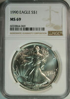 1990 American Eagle .999 Pure Silver Dollar / NGC MS69 / MINT STATE 69