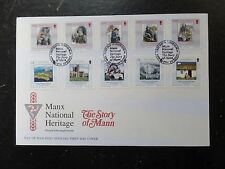 I.O.M.2004 Manx National Heritage 10v s/adhesives FDC ex booklet