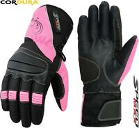 LADIES PINK THERMAL WOMENS MOTORBIKE MOTORCYCLE MOTOCROSS WINTER TEXTILE GLOVES