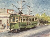 "Watercolor Original Painting 11"" x 15"" Old Tram  NOT A PRINT"