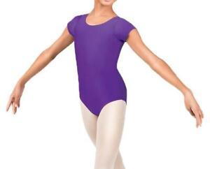 Kids Girls Shiny Short Sleeve  Dance Gymnastics Leotard