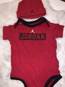 """❤️Baby Boys Jordan #23 """"Draft Pick"""" 🖤 Red/Black Bodysuit ❤️ Size 6-9m W Hat"""