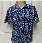Street Rules Blue Short Sleeve Button Down Shirt Stars Patriotic Size XL