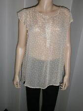 August Silk Small (4-6) semi-sheer beige crepe tunic top w/flutter sleeves, NWT