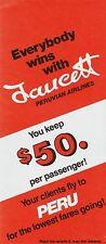 Faucett Peruvian Airlines Travel Agent brochure =