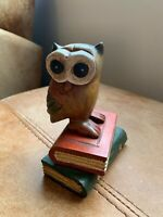 Wooden Vintage Style Owl Sat On Books Gift Ornament Display