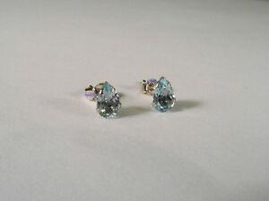 New Ladies 9ct White Gold Teardrop Blue Topaz Studs Earrings 6mm Hallmarked