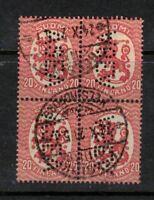 Finland 1921-  Perfin ASEA.Block of four. Used.RARE.Very Fine.