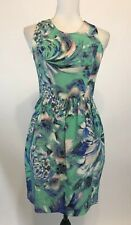 Shoshanna Womens Waterlily Floral Louise A Line Dress Lined Green Size 2