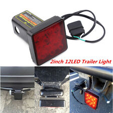 "Red 12LED Truck Bright Brake Light Trailer Hitch Cover Fit 2"" Standard Size 12V"