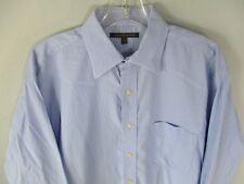 Tommy Hilfiger Men's Size Medium 100% Cotton Long Sleeve Blue Button Front Shirt