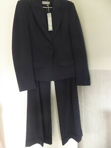 INES Dark Blue Stretchy Wide-Leg Trouser Suit Size 10/12 - NEW with tag