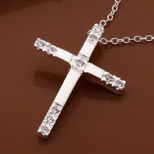 925 Hallmark Sterling Silver Filled Cross CZ Pendant Chain Necklace N504