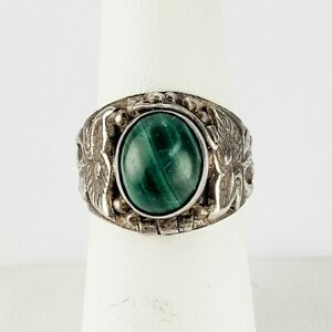 Vintage Poison Ring Sterling Silver 925 with Malachite Stone Size 6.75