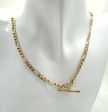 Very Nice 9 Carat Gold Figaro Link And T Bar Albert Neckchain