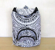 Unisex Fashion Backpack Bag Indian Cotton Hippie Grey Ombre Mandala Bags Throw