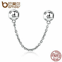 Bamoer Authentic S925 Sterling Silver Safety Chain Charm Fit Bracelet Jewelry