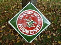 "BUDWEISER Porcelain Sign Advertising Vintage Button 27"" Beer Collectible USA BUD"