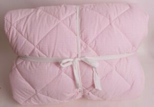 Pottery Barn Kids Gingham cozy comforter, FQ Full Queen f/q, light pink *sample*