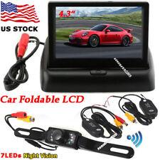 """Foldable 4.3"""" TFT LCD Car Monitor +Wireless Backup Rear View Camera Night Vision"""