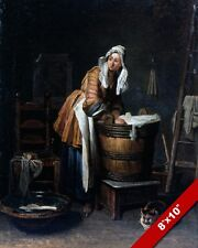 WASHERWOMAN SERVANT GIRL PEASANT WASHING CLOTHES PAINTING ART REAL CANVAS PRINT