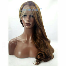 24'' Chocolate Brown Color Lace Front Wig Synthetic Hair Long Wavy Wigs